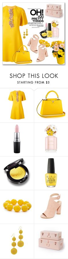 """""""Yellow...and Pink"""" by kimzarad1 ❤ liked on Polyvore featuring Giambattista Valli, MAC Cosmetics, Marc Jacobs, OPI, Kim Rogers, Kendall + Kylie and Kenneth Jay Lane"""