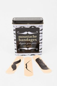 #UrbanOutfitters          #Apparment #Games         #bandages #wipe #kisses #pain #mustache #content #different #import #tin #styles #clean #disguise #flexible #perfect #care #vinyl #bandages #wipe #kisses #pain #mustache #content #different #import #tin #styles #clean #disguise #flexible #perfect #care #vinyl Mustache Bandages         Make that booboo feel all better with mustache kisses! The tin of 25 flexible bandages, with 4 different mustache styles, all make for a perfect disguise for…