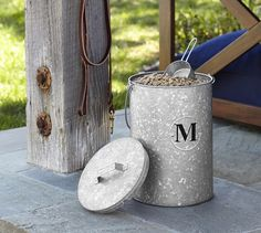 Galvanized Metal Pet Food Canister | Pottery Barn