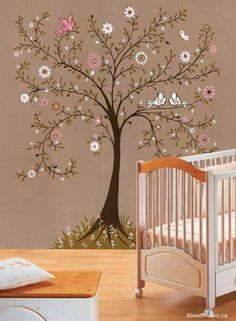 A wallpaper mural featuring a whimsical tree, birds and flowers. This removable wallpaper ships free worldwide! Have it hung from $149 or DIY in 2 hours.