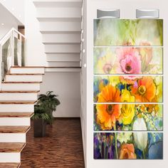 Designart 'White Gerbera Rose and Tulips' Flower Glossy Metal Wall Art Artwork