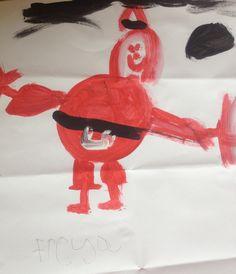 Santa, as painted by Freya, 5 years old • Art My Kid Made #kidart