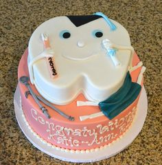 Cutest little smiling tooth graduation cake for a dental school grad. Praying I make it this far!