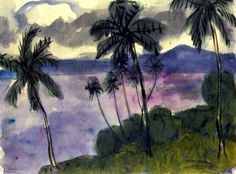 wetreesinart:  Emil Nolde (Germ. 1867-1956 ), Palms on the Shore, 1913-1914, watercolor, 34.5 x 45.7 cm, Neukirchen, Nolde Stiftung Seebüll