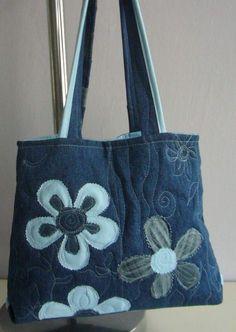 Džínová rozkvetlá kabelka