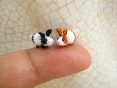 Miniature Bunny Rabbit Amigurumi Micro Crochet Tiny door SuAmi