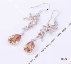 38x15mm 925 Sterling Silver Jewelry Crystal Hook Dangle Earrings Ear Drop