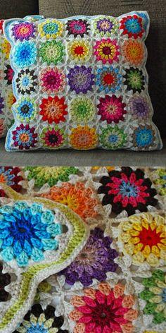 Gradient Circles Blanket Free Crochet Pattern