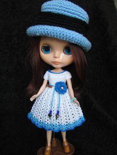 Handmade Crochet Blythe Dress  White/Royal by SunshineCottage8