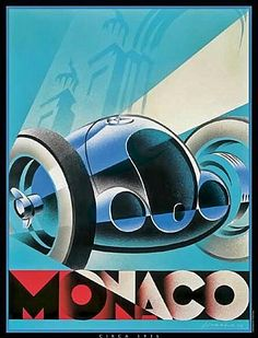 Alain Levesque's poster for the 1937 Monaco Grand Prix featured Mercedes' newest grand prix car, the 1937 W125. The Mercedes were unbeatable in the race, and swept the podium when they took first, second, third, and fifth in the race, with an Auto Union in fourth, and a Scuderia Ferrari Alfa Romeo 12C-36 three laps down in sixth.