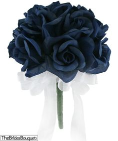 This design is a very tailored, attractive bouquet of 1 dozen navy blue silk roses that can be accented with a wide selection of ribbon colors. A nice size for jr. bridesmaids as well as a tossing bou Wedding Bridesmaid Bouquets, Silk Bridal Bouquet, Bride Bouquets, Wedding Flower Guide, Blue Wedding Flowers, Flower Bouquet Wedding, Wedding Ideas, Flower Bouquets, Wedding Reception