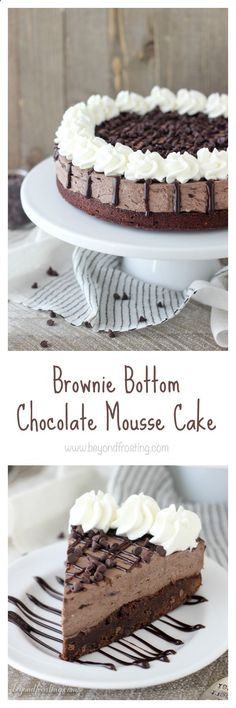 This Brownie Bottom Chocolate Mousse Cake is a rich fudgy brownie is topped with a decadent dark chocolate cheesecake mousse. It is a chocolate lovers dream! #grillingrecipes