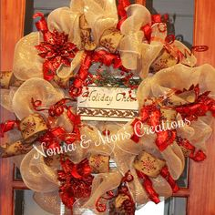 Gold & Red Poinsettia Deco Wreath by NonnaAndMonsCreation on Etsy