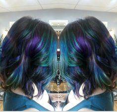 Oil slick hair Epic Hair, Awesome Hair, Oil Slick Hair Color, Blonde Dye, Medium Long Hair, Alternative Hair, Bright Hair, Good Hair Day, Mermaid Hair