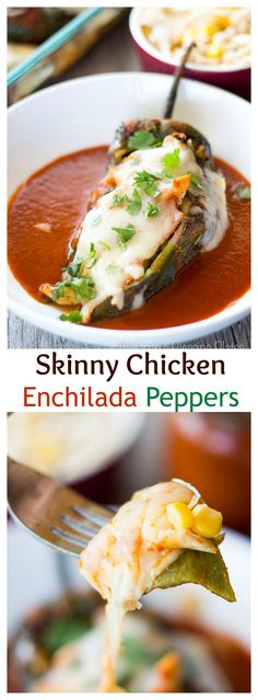 These Skinny Chicken Enchilada Stuffed Chilies have all of the flavor and none of the guilt. Zesty enchilada flavors are merged with the classic chile relleno to make this a dinner you won't soon forget. Quesadillas, Tex Mex, Mexican Dishes, Mexican Food Recipes, Skinny Recipes, Healthy Recipes, Delicious Recipes, Healthy Foods, Keto Recipes