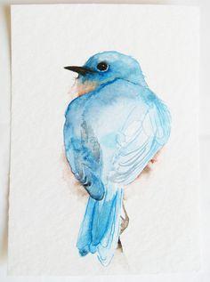 Little Blue Bird's Back Original Watercolor by dearpumpernickel