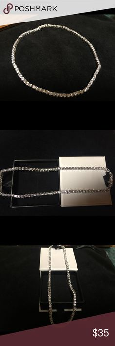 10k Diamonique Necklace WGP Beautiful Stunningly Beautiful White Gold Plated 10k Diamonique Necklace One of a Kind Ladies Never Worn New Without Tags❤️ Jewelry Necklaces