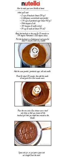 This is how to make your very own Nutella at home. This is how to make your very own Nutella at home. – this could be the single greatest recipe I have ever pinned. Delicious Desserts, Dessert Recipes, Yummy Food, How To Make Nutella, Home Made Nutella, Nutella Recipes, Love Food, Sweet Recipes, Food And Drink