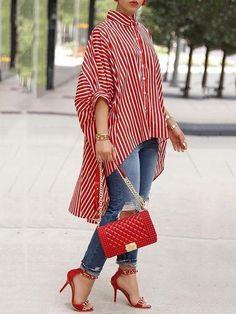 Shop Striped Print Batwing Sleeve Dip Hem Loose Blouse – Discover sexy women fashion at IVRose Trend Fashion, Look Fashion, Womens Fashion, Ladies Fashion, Fashion Ideas, Fashion Images, Fall Fashion, Fashion Usa, Feminine Fashion