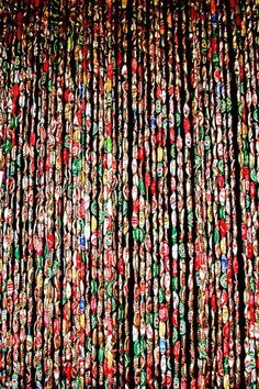 in a remote part of the interior of Dominica had this 'beaded' curtain made out of beer bottle caps . in a remote part of the interior of Dominica had this 'beaded' curtain made out of beer bottle caps Beer Cap Art, Beer Bottle Caps, Bottle Cap Art, Beer Caps, Bottle Top, Bottle Cap Projects, Bottle Cap Crafts, Clear Casting Resin, Unique Curtains