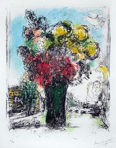 Chagall Hand Signed Color Lithograph | Red and Yellow Bouquet, 1974