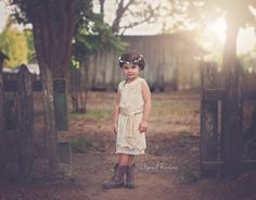 This is so gorgeous for a country or rustic wedding!  I love that it can also be worn after the wedding for casual wear too!  Ivory Flower Girl Dress Lace Flower Girl by FlowerGirlsCouture