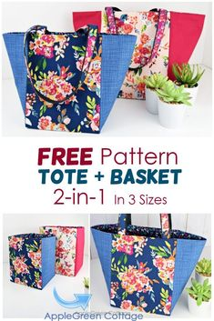 See how to make a tote bag using this free tote bag sewing pattern for a great looking market tote bag in 3 sizes. It can be used either as a storage basket or as a market bag. Easy sewing project, and no corner boxing required, due to a specific square bottom construction. Happy #sewing! #freepattern #bagpattern #totebag Easy Sewing Projects, Sewing Projects For Beginners, Sewing Hacks, Sewing Tutorials, Sewing Tips, Sewing Ideas, Tote Pattern, Bag Patterns To Sew, Sewing Patterns Free