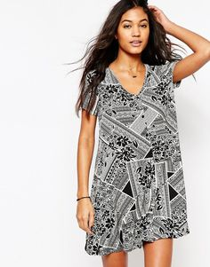 ASOS+Button+Through+Swing+Dress+in+Patched+Tile+Print