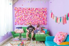 """Unicorns, rainbow tassels, a giant silk flower wall, a bedroom inspired by crystals and over 30 paint colors—Amina and Sal's LA apartment is """"the ultimate happy place. Beach Wallpaper, Wall Wallpaper, Flower Pillow, Flower Wall, Rainbow House, Colorful Apartment, Rainbow Painting, Living Room Colors, Black Decor"""