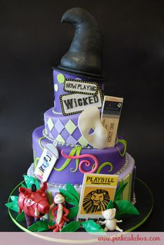 So if i were to do a broadway themed wedding, this would be my cake...but no big hat up top maybe a little one down by the wicked sign, then on top a big BROADWAY sign with the bride and groom in front of it!!:)