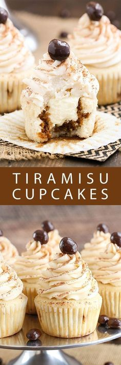 Who can say no to this Tiramisu cupcake stuffed with a delicious and airy filling! The double amount of cupcakes. Just Desserts, Delicious Desserts, Dessert Recipes, Yummy Food, Italian Desserts, Italian Cupcakes, Delicious Cookies, Italian Cookies, Italian Recipes