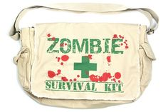 Zombie survival messenger bag. I actually really want this for my emergency bag; you know, the one we're all supposed to have, according to FEMA? Well no ordinary bag will do so....  :D