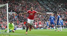 Anthony Martial wheels away in celebration after scoring Manchester United's Premier League goal Dominic King, Premier League Goals, John Stones, Anthony Martial, Old Trafford, Fa Cup, Man United, Everton, Manchester United