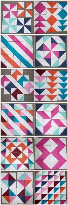 Half Square Triangles - so many possibilities - Chasing Cott.- Half Square Triangles – so many possibilities – Chasing Cottons: Quilt Class 101 Patchwork Patterns, Patchwork Quilting, Quilt Block Patterns, Pattern Blocks, Quilt Blocks, Modern Quilting, Seminole Patchwork, 24 Blocks, Patchwork Baby
