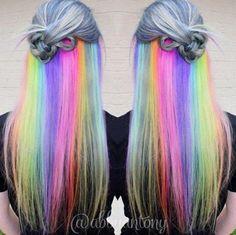 Hidden rainbow hair. Dye My Hair, New Hair, Hair Color 2016, Hidden Rainbow Hair, Pelo Multicolor, Underlights Hair, Grey Nail Designs, Bright Hair Colors, Hair Colours