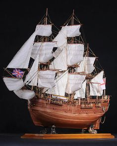 HMS Endeavour Wooden Tall SHIP Model Wood Sailing Boat | eBay
