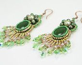 Earrings, Beaded, Halo Angel, Jade and Pearls, Chandelier, Green, Gold, and Pink Part of a TAGT team Etsy treasury, click to see more.