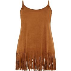 Plus Size Tan Suedette Fringe Hem Cami ($10) ❤ liked on Polyvore featuring tops, shirts, brown, dresses, pocahontas, brown shirts, plus size tanks, womens plus size tank tops, longline shirt and womens plus size shirts