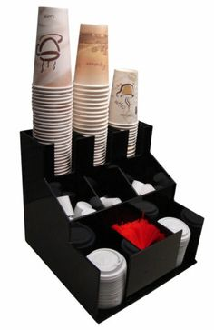 Cup and Lid Dispenser Holder Coffee Condiment Caddy Cup Rack Beverage Organizer | eBay
