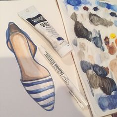 New illustration on the way! Link to etsy shop in bio! #illustration #illusterations #fashion #fashionillustration #shoes #flats #stripes #blueandwhite stationary #paint #art #etsy