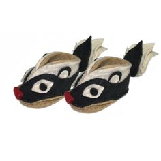 Fair Trade Skunk Felt Zooties Baby Booties handmade by artisans in Kyrgyzstan available at Alternatives Global Marketplace