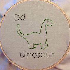 D is for dinosaur - adorable embroidery for ABC alphabet quilt! Creative Embroidery, Diy Embroidery, Vintage Embroidery, Cross Stitch Embroidery, Embroidery Patterns, Dinosaur Fabric, Dinosaur Pattern, Alphabet Quilt, Abc Alphabet