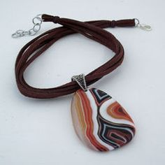 Leather agate necklace