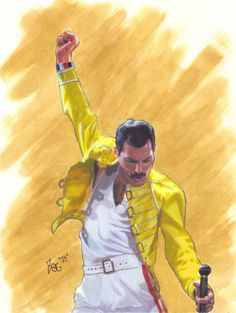 my drawing of freddie mercury of queen . colored pencil, ink and watercolor on smooth bristol John Deacon, Blues Rock, Freddie Mercury Michael Jackson, Freedy Mercury, Freddie Mercuri, Queens Wallpaper, We Are The Champions, Music Illustration, Greatest Rock Bands