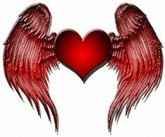 Red heart and wings Heart Wallpaper, Love Wallpaper, Heart With Wings Tattoo, Heart Wings, Angel Wings, Coeur Gif, Images Emoji, Hearts And Roses, Red Hearts