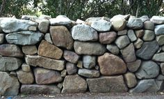 A mortarless dry stone wall.