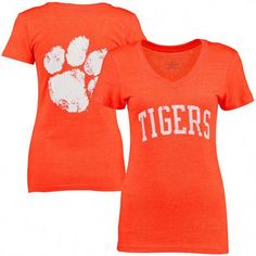 Clemson Tigers Women's Slab Serif Tri-Blend V-Neck T-Shirt - Orange School Spirit Wear, School Spirit Shirts, School Shirts, College Shirts, Mom Shirts, Paws Shirt, Tiger Shirt, V Neck T Shirt, Clemson Tigers