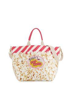 Amuse Me Popcorn Tote Bag, Cream/Multi