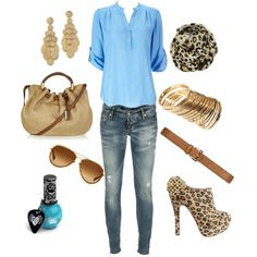 leopard and blue, created by #heather-marie-1
