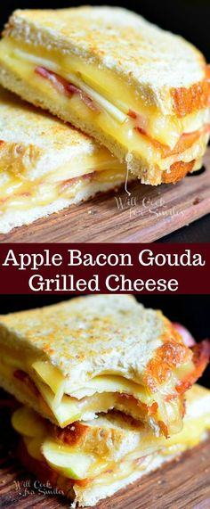This Apple Bacon and Gouda grilled cheese turned out delicious! It's made with sour dough bread, Applewood smoked bacon, apple smoked Gouda and apples. Grill Sandwich, Sandwich Spread, Bacon Sandwich, Grilled Sandwich Ideas, Grilled Cheese Recipes, Best Grilled Cheese, Gourmet Grilled Cheeses, Recipes With Gouda Cheese, Grilled Cheese Sandwiches